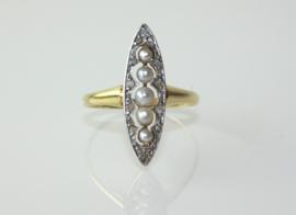 Antieke goud met platina Art Deco ring