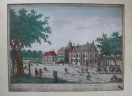 Antieke gravure Paleis Huis ten Bosch en Oranjezaal 18e eeuw