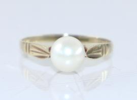 Vintage gouden ring met parel, jaren '40