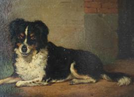 Schilderij van een liggend hondje, Friese Stabij