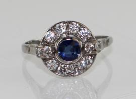 Antieke witgouden Art Deco ring met diamant en saffier