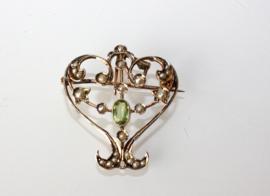 Jugendstil gouden hanger / broche met zaadparels en toermalijn