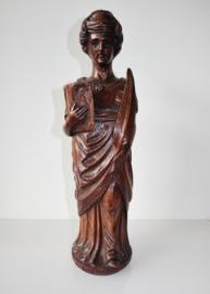 Antiek eikenhout gesneden heiligenbeeld