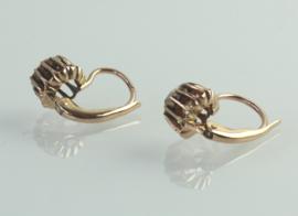 Antieke 19e eeuwse gouden oorbellen met roosdiamant