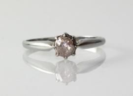 Antieke 18 karaat witgouden solitair ring met roosdiamant