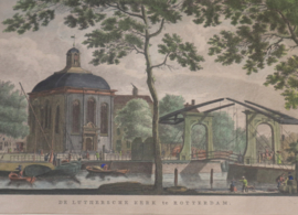 Antieke Gravure Lutherse kerk Rotterdam
