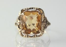 Antieke 14 karaat gouden ring met grote citrien