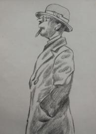 Herman Moerkerk (1879-1949) tekening man met sigaar
