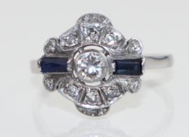 Antieke Art Deco witgouden ring met diamant en saffier