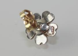 Antieke oorbellen van goud, zilver en roosdiamant