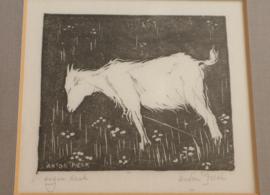 Anton Pieck (1895 -1987) Bloemen etende geit aan een touw.