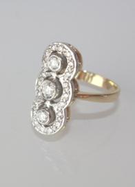 Vintage 14 karaat gouden Princessenring met briljant geslepen diamanten