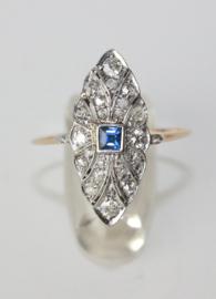 Antieke Art Deco gouden ring met diamanten en saffier