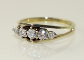 Vintage gouden ring met 5 briljanten, jaren '70/80
