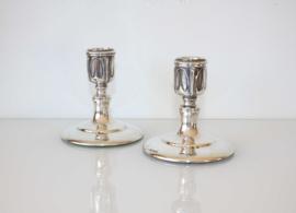 Paar antieke zilveren kandelaars, Jugendstil, Art Nouveau, ca. 1900