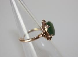Antieke gouden ring met nefriet