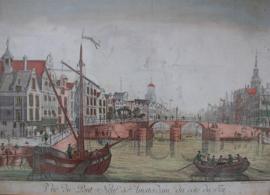 Antieke gravure De Nieuwe Brug Amsterdam 18e eeuw