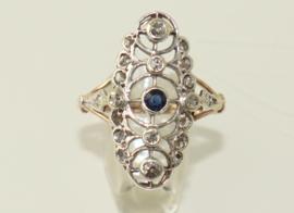 Antieke Jugendstil gouden ring met saffier en diamanten