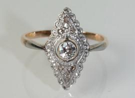 Art Deco goud met platina ring  met oudslijpsel diamant