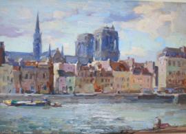 Stadsgezicht Parijs Notre Dame, Henk van Leeuwen (1890-1972)