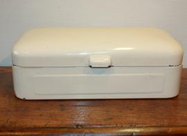 Vintage wit emaille broodtrommel