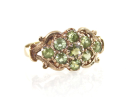 Vintage gouden Schotse ring met peridot, 1979