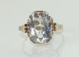 Vintage gouden ring met kleurloze spinel, jaren '30/'40.