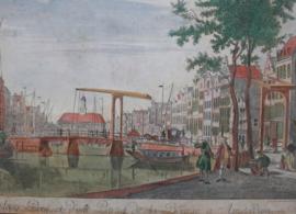 Antieke gravure Langebrug Amsterdam 18e eeuw