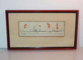 Anton Pieck (1895 -1987)  vier kippen op stok.