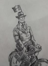 Herman Moerkerk (1879-1949) tekening fietsende man
