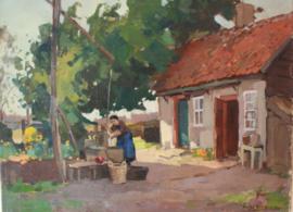 Henk van Leeuwen (1890-1972) Boerin bij waterpomp