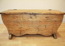 Antiek grenen beddenbankje, zitbankje