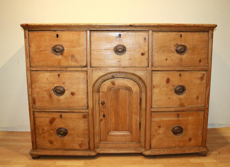 Verbazingwekkend Antieke grenen ladenkast dressoir commodeAntique chest YJ-56