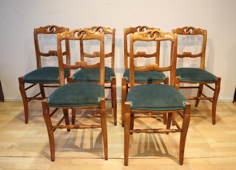 Set van 6 Franse antieke stoelen
