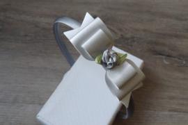 haarband zilver, dubbele strik met roosje