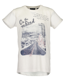 Off- white t-shirt ,On the road. Blue Seven