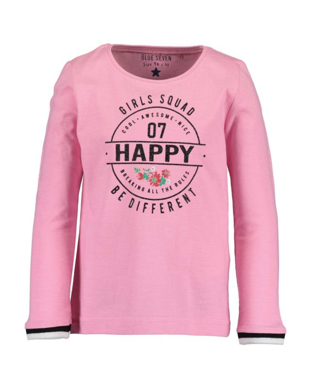 Vrolijk roze shirt met glitter opdruk, Blue Seven