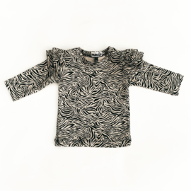 Fab Kids | Ruffle longsleeve Zebra Sand