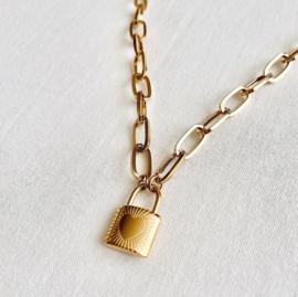 Ketting - Liefdesslot goud