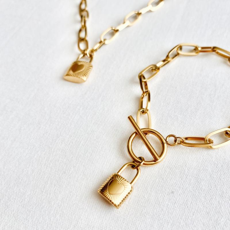 Armbandje - Liefdesslot goud