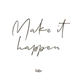 Magneet make it happen - bruin- 7 x 7 cm