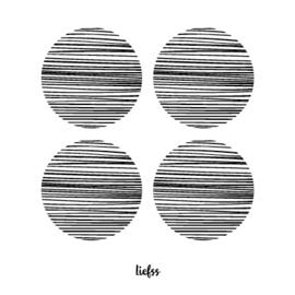 Magneet 4 stippen - zwart - 7 x 7 cm