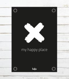 Tuinposter My happy place - zwart