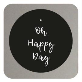 Muurcirkel oh happy day- zwart  20CM