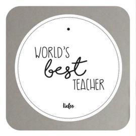 Muurcirkel world's best teacher - cadeau voor juf en meester - wit 20CM