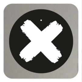 Muurcirkel X kruis- zwart 20CM