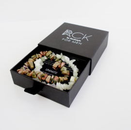 FOR MEN Bracelets: JADE & UNAKITE - 2 boxes