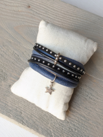 Wikkelarmband Cool Star - Zwart Blauw