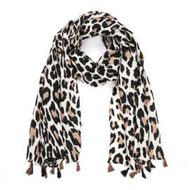 Sjaal Leopard Tassel - Taupe