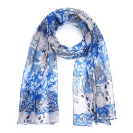 Sjaal Beautiful Flowers - Blauw